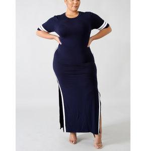 Womens Plus Size Navy Blue Jersy Maxi Dress 3X